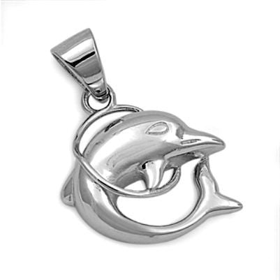 Sterling Silver Jumping Dolphin pendant - Blades and Bling Sterling Silver Jewelry