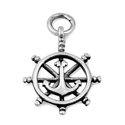 Sterling Silver Sailing Ship Wheel and Boat Anchor pendant - Blades and Bling Sterling Silver Jewelry