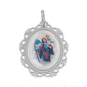 Sterling Silver St. Joseph Oval Medallion pendant - Blades and Bling Sterling Silver Jewelry