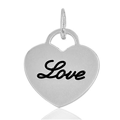 "Sterling Silver ""Love"" Script Cursive Heart Shaped Dog Tag pendant - Blades and Bling Sterling Silver Jewelry"