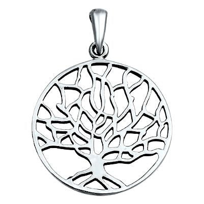 Sterling Silver Winter Tree of Life round pendant (Yggdrasil)