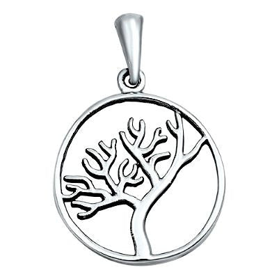 Sterling Silver Winter Tree of Life or branch round pendant