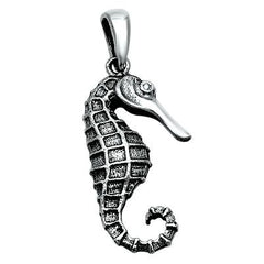 Sterling Silver Seahorse pendant (Sea Horse) Good Luck charm