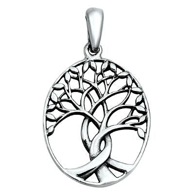 Sterling Silver Tree of Life with Leaves Three Trees pendant (Yggdrasil)