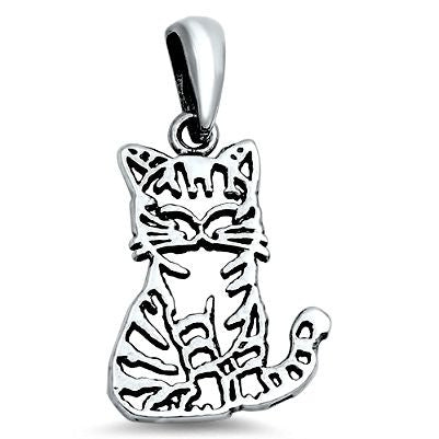 Sterling Silver Small Happy Smiling Cat pendant - Blades and Bling Sterling Silver Jewelry