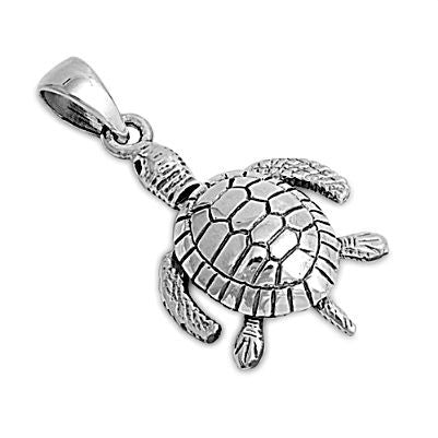 Sterling Silver Small Sea Turtle detailed pendant - Blades and Bling Sterling Silver Jewelry