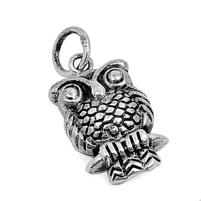 Sterling Silver Small Detailed Handcrafted Owl pendant - Blades and Bling Sterling Silver Jewelry