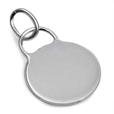Sterling Silver Blank Engravable Round Dog Tag pendant - Blades and Bling Sterling Silver Jewelry
