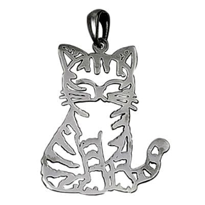 Sterling Silver Smiling Happy Cat Outline pendant - Blades and Bling Sterling Silver Jewelry
