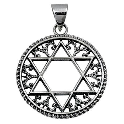 Sterling Silver Star of David Beaded Edge Circle pendant - Blades and Bling Sterling Silver Jewelry