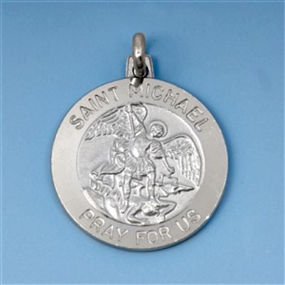 Sterling Silver St. Michael Pray for Us Medal Medallion Coin pendant - Blades and Bling Sterling Silver Jewelry