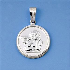 Sterling Silver Angel Cherub Medal Medallion Coin pendant - Blades and Bling Sterling Silver Jewelry