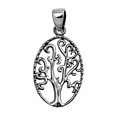 Sterling Silver Oval Family Tree of Life Heart Infinity pendant (Yggdrasil) - Blades and Bling Sterling Silver Jewelry