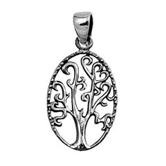 Sterling Silver Oval Family Tree of Life Heart Infinity pendant (Yggdrasil)