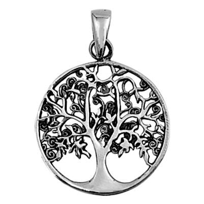 Sterling Silver Summer Leaves Family Tree of Life Infinity pendant (Yggdrasil) - Blades and Bling Sterling Silver Jewelry