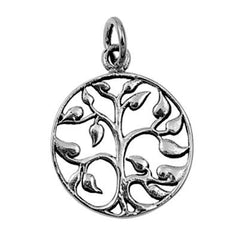 Sterling Silver Family Tree of Life with Leaves pendant (Yggdrasil)