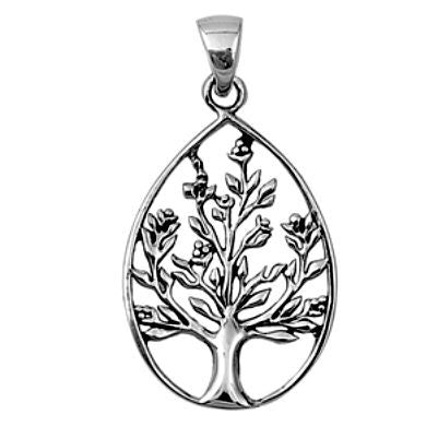 Sterling Silver Teardrop Family Tree of Life Spring Blooms pendant (Yggdrasil) - Blades and Bling Sterling Silver Jewelry
