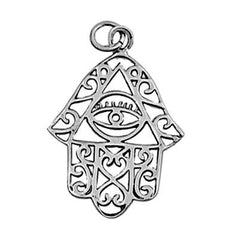 Sterling Silver Eye Hand of God with Infinity Hearts pendant