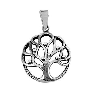 Sterling Silver Small Tree of Life with Fruit round detailed pendant - Blades and Bling Sterling Silver Jewelry
