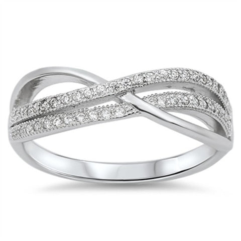 Sterling Silver Pave Set Crossover CZ Infinity Ring Wedding Band size 5-10 by Blades and Bling Sterling Silver Jewelry