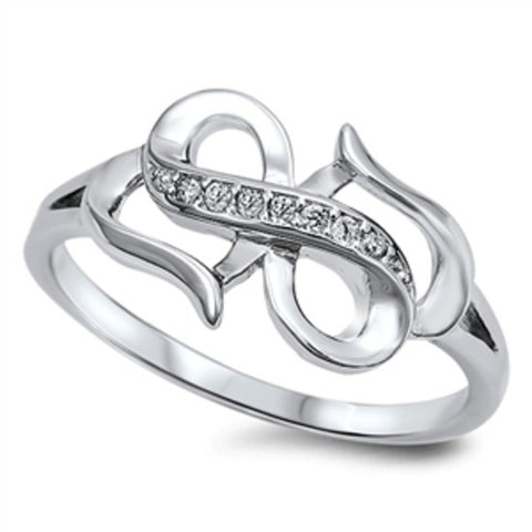 Sterling Silver Double Heart Round Cut CZ Infinity Ring size 4-10 - Blades and Bling Sterling Silver Jewelry