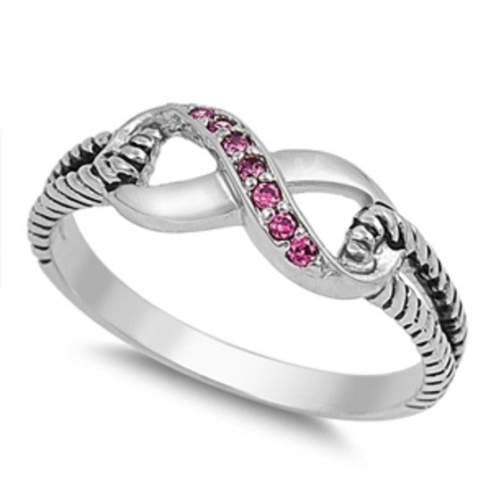 Sterling Silver Ruby Red CZ Infinity Ring with Cable Band Size 4-10 by Blades and Bling Sterling Silver Jewelry