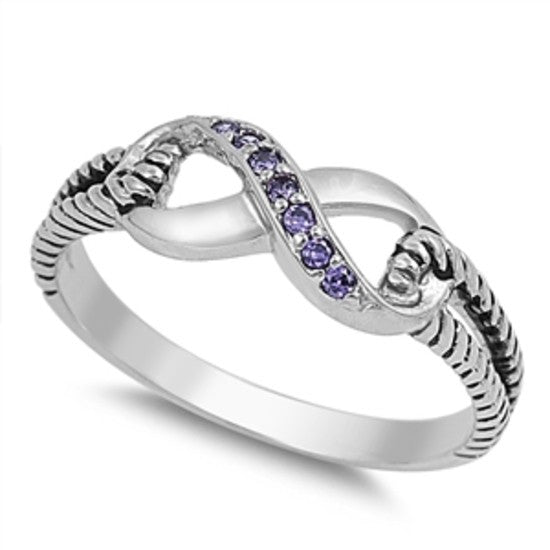 Sterling Silver Purple Amethyst CZ Infinity Ring with Cable Band Size 4-10 by Blades and Bling Sterling Silver Jewelry
