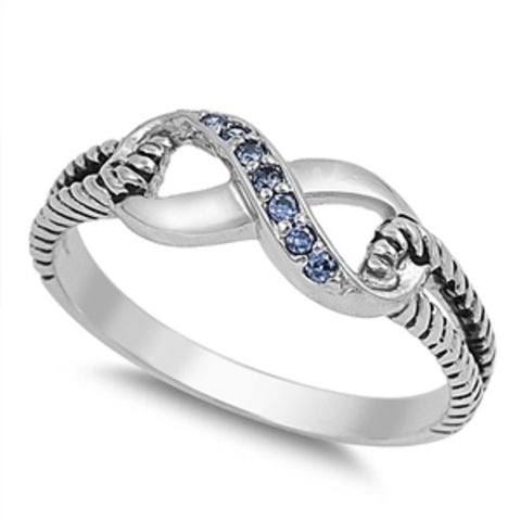 Sterling Silver Blue Sapphire CZ Infinity Ring with Cable Band Size 4-10 - Blades and Bling Sterling Silver Jewelry