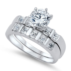 Sterling Silver CZ 2.5 carat Brilliant Round Cut Channel Set Wedding Ring Set Size 5-10 - Blades and Bling Sterling Silver Jewelry