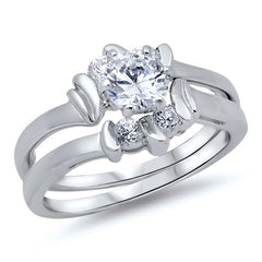 Sterling Silver CZ 1 carat Unique Brilliant Round cut Wedding Ring Set Size 5-10 - Blades and Bling Sterling Silver Jewelry
