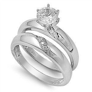 Sterling Silver CZ 1 carat Brilliant Round Cut Solitaire Wedding Ring Set 5-10 - Blades and Bling Sterling Silver Jewelry