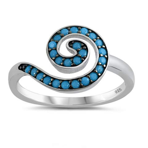 Style: Finely detailed and sophisticated swirly symbol set with turquoise gemstones on a striking black background  Metal quality: .925 Sterling Silver with stamped hallmark  Color: Blue, Black, Clear White  Stones: AAA Quality Russian Ice Cubic Zirconia  Stackable: Yes  Wear as: Ladies Midi, Thumb, Knuckle, Regular finger fashion  Face height: 10 mm high  Band width: 2 mm  Ring size: 5-10  Packaging: Comes in a pretty gift box  Made in the USA