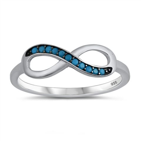 Style: Exotic artisan eternity infinity symbol with turquoise gemstones set on a bold black background  Metal quality: .925 Sterling Silver with stamped hallmark  Color: Blue, Black  Stackable: Yes  Wear as: Ladies Midi, Thumb, Knuckle, Regular fashion  Face height: 10 mm high  Band width: 2 mm  Ring size: 4-10  Packaging: Comes in a pretty gift box  Made in the USA