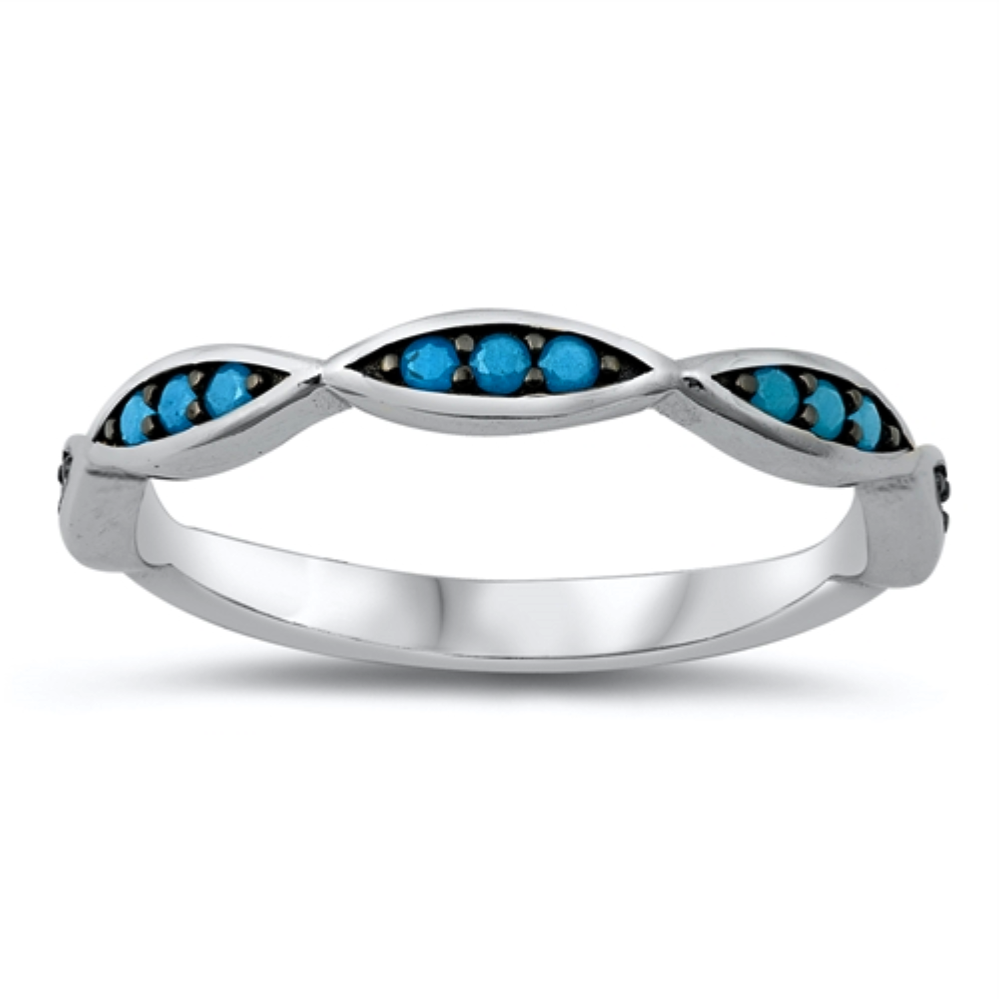 Style: Expensive-looking scalloped edge ring with turquoise gemstones set on a eye catching black background  Metal quality: .925 Sterling Silver with stamped hallmark  Color: Blue, Black  Stackable: Yes  Wear as: Ladies Midi, Thumb, Knuckle, Regular fashion  Face height: 10 mm high  Band width: 3 mm  Ring size: 4-10  Packaging: Comes in a pretty gift box  Made in the USA