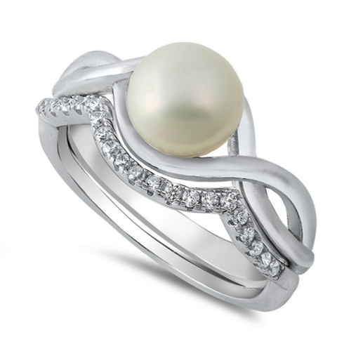 Pearl Ladies Ring Set Size 5-10 in Sterling Silver and CZ