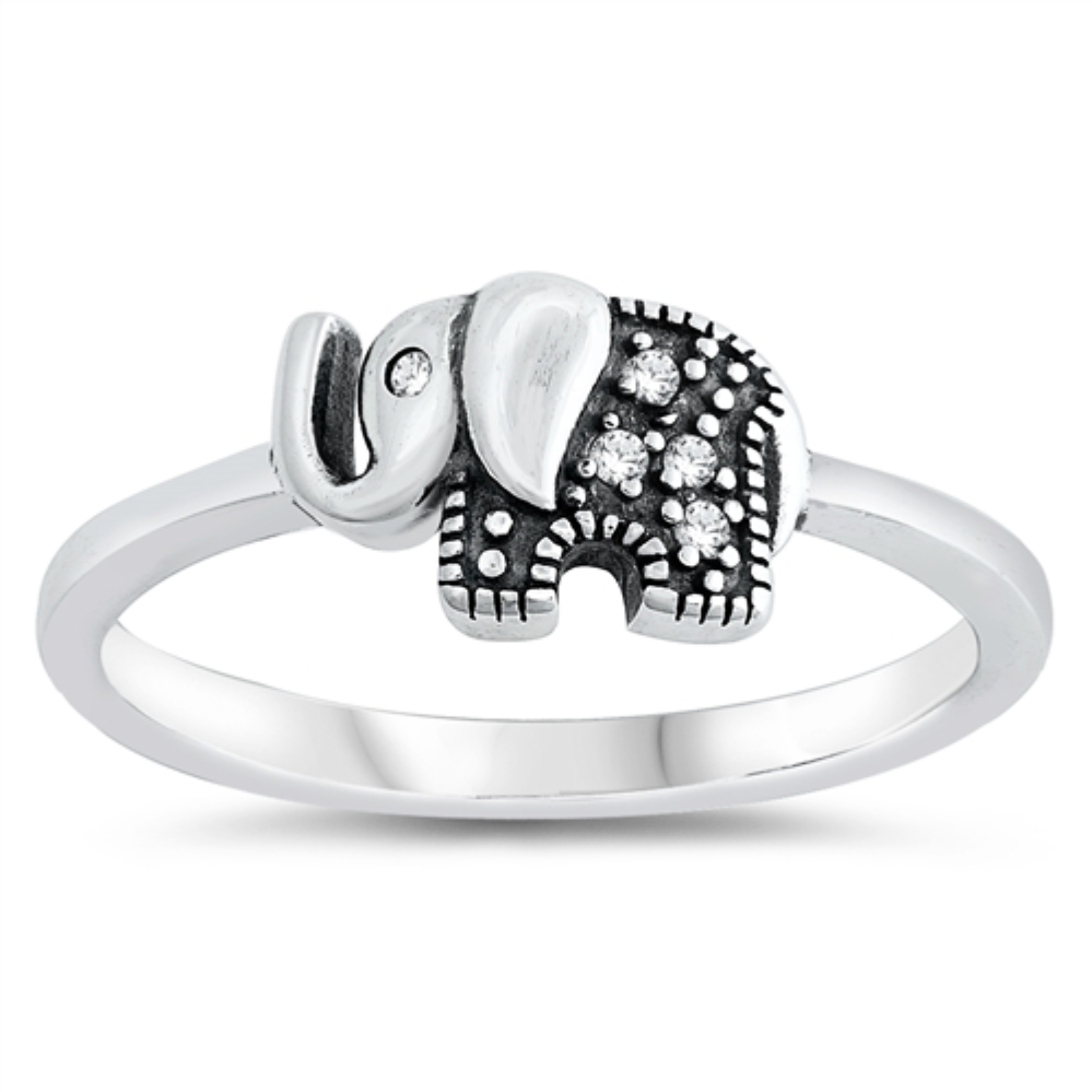 Style: Cute good luck elephant with clear white gemstone eye and accents  Metal quality: .925 Sterling Silver with stamped hallmark  Color: Silver, Black  Stones: AAA Quality Russian Ice Cubic Zirconia  Stackable: Yes  Wear as: Kids fashion, Ladies Midi, Thumb, Knuckle, Regular  Face height: 7 mm high  Band width: 2 mm  Ring size: 4-10  Packaging: Comes in a pretty gift box  Made in the USA