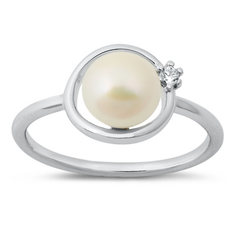 Style: Exquisite freshwater pearl with gemstone accents  Metal quality: .925 Sterling Silver with stamped hallmark  Color: Silver, Clear White  Stones: AAA Quality Russian Ice Cubic Zirconia  Stackable: Yes  Wear as: Ladies Midi, Thumb, Knuckle, Regular fashion  Face height: 8 mm pearl, 10 mm high  Band width: 2 mm  Ring size: 5-10  Packaging: Comes in a pretty gift box  Made in the USA