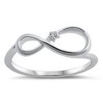 Style: Artistically hand-crafted infinity eternity symbol with simulated diamond accents  Metal quality: .925 Sterling Silver with stamped hallmark  Color: Silver, Clear White  Stones: AAA Quality Russian Ice Cubic Zirconia  Stackable: Yes  Wear as: Ladies Midi, Thumb, Knuckle, Regular fashion  Face height: 7 mm high  Band width: 2 mm  Ring size: 5-10  Packaging: Comes in a pretty gift box  Made in the USA