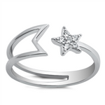 Style: Beautifully crafted star ring with gemstone accents  Metal quality: .925 Sterling Silver with stamped hallmark  Color: Silver, Clear White  Stones: AAA Quality Russian Ice Cubic Zirconia  Stackable: Yes  Wear as: Ladies Midi, Thumb, Knuckle, Regular fashion  Face height: 8 mm high  Band width: 2 mm  Ring size: 5-10  Packaging: Comes in a pretty gift box  Made in the USA