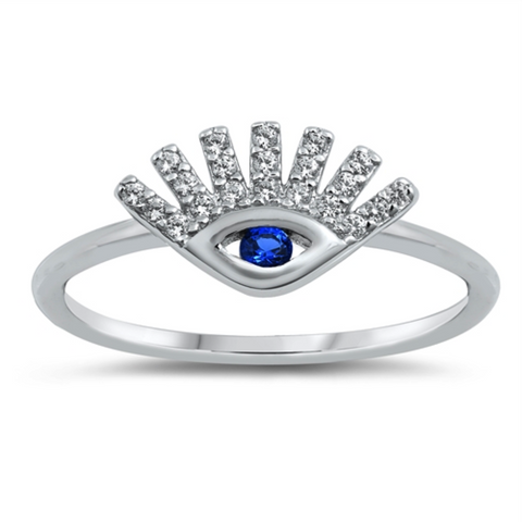 Style: Fun and zany blue eye ring with CZ eyelashes.    Metal quality: .925 Sterling Silver with stamped hallmark  Color: Blue, Clear White  Main stone cut and type: Brilliant Round Cut AAA Cubic Zirconia CZ  Setting: 4 prong, Channel set  Stackable: Yes  Wear as: Ladies Midi, Thumb, Knuckle, Regular fashion  Face height: 9 mm high  Band width: 2 mm  Ring size: 5-10  Packaging: Comes in a pretty gift box  Made in the USA