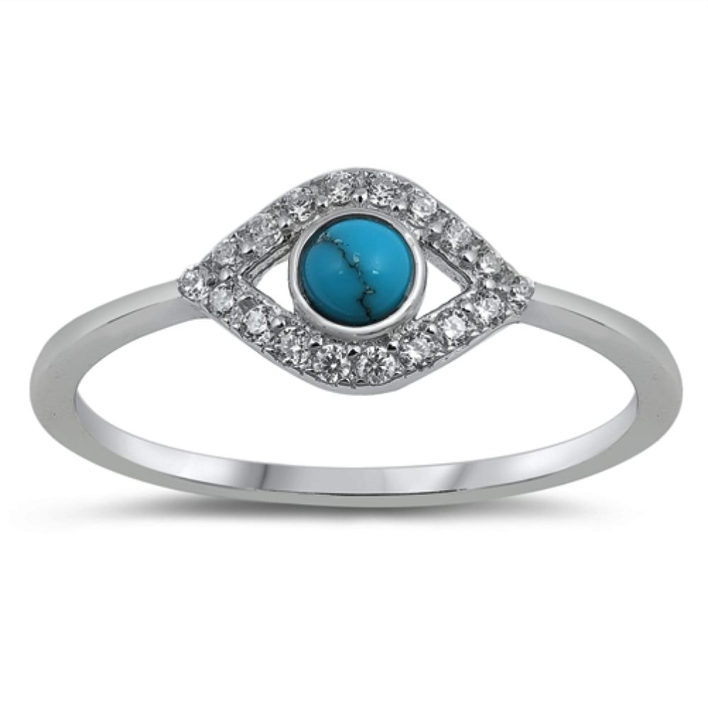 Style: Flirty CZ all seeing eye ring with turquoise gemstone   Metal quality: .925 Sterling Silver with stamped hallmark  Color: Blue, Clear White  Stackable: Yes  Wear as: Ladies Midi, Thumb, Knuckle, Regular fashion  Face height: 9 mm high  Band width: 2 mm  Ring size: 4-10  Packaging: Comes in a pretty gift box  Made in the USA