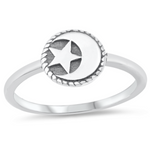 Womens and girls star and moon silver ring