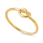 Style: Wire Infinity Knot  Metal quality: .925 Sterling Silver with stamped hallmark  Color: Yellow Gold  Stones: None  Stackable: Yes  Wear as: Midi, Thumb, Knuckle, Regular ring  Face height: 5 mm high  Band width: 1.5 mm  Ladies ring size: 3-12  Packaging: Comes in a pretty gift box  Made in the USA