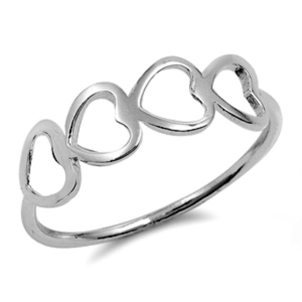 .925 Sterling Silver Eternity Heart Girls and Ladies Ring Size 4-10