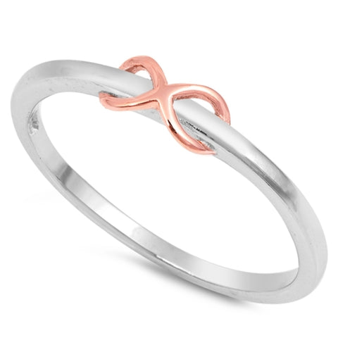Style: 3D Raised Infinity Eternity Symbol  Metal quality: .925 Sterling Silver with stamped hallmark  Color: Rose Gold, Silver  Stones: None  Stackable: Yes  Wear as: Midi, Thumb, Knuckle, Regular ring  Face height: 4 mm high  Band width: 2 mm band  Ladies ring size: 2-10  Packaging: Comes in a pretty gift box  Made in the USA