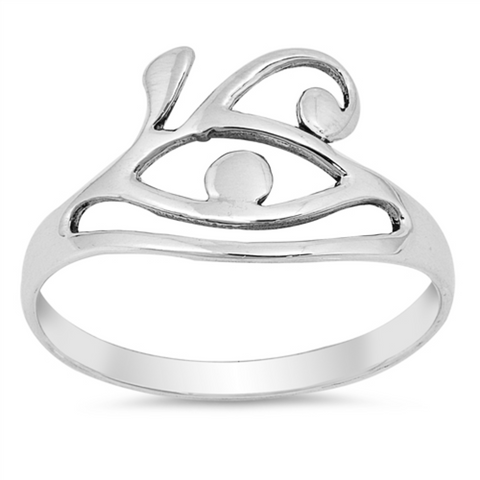 Style: Art Deco Eyeball and Eyebrow  Metal quality: .925 Sterling Silver with stamped hallmark  Color: Silver  Stones: None  Stackable: Yes  Wear as: Midi, Thumb, Knuckle, Regular ring  Face height: 12 mm high  Band width: 2 mm  Ladies ring size: 4-10  Packaging: Comes in a pretty gift box  Made in the USA