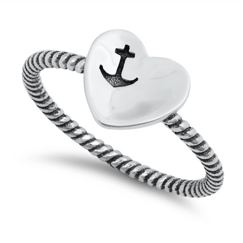 Style: Large heart with anchor engraved on it  Metal quality: .925 Sterling Silver with stamped hallmark  Color: Silver  Stones: None  Stackable: No  Wear as: Midi, Thumb, Knuckle, Regular ring  Face height: 8 mm high  Band width: 2 mm cable band  Ladies ring size: 4-10  Packaging: Comes in a pretty gift box  Made in the USA