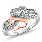 Womens Two Tone Rose Gold and Silver Double Heart ring for every day glamour