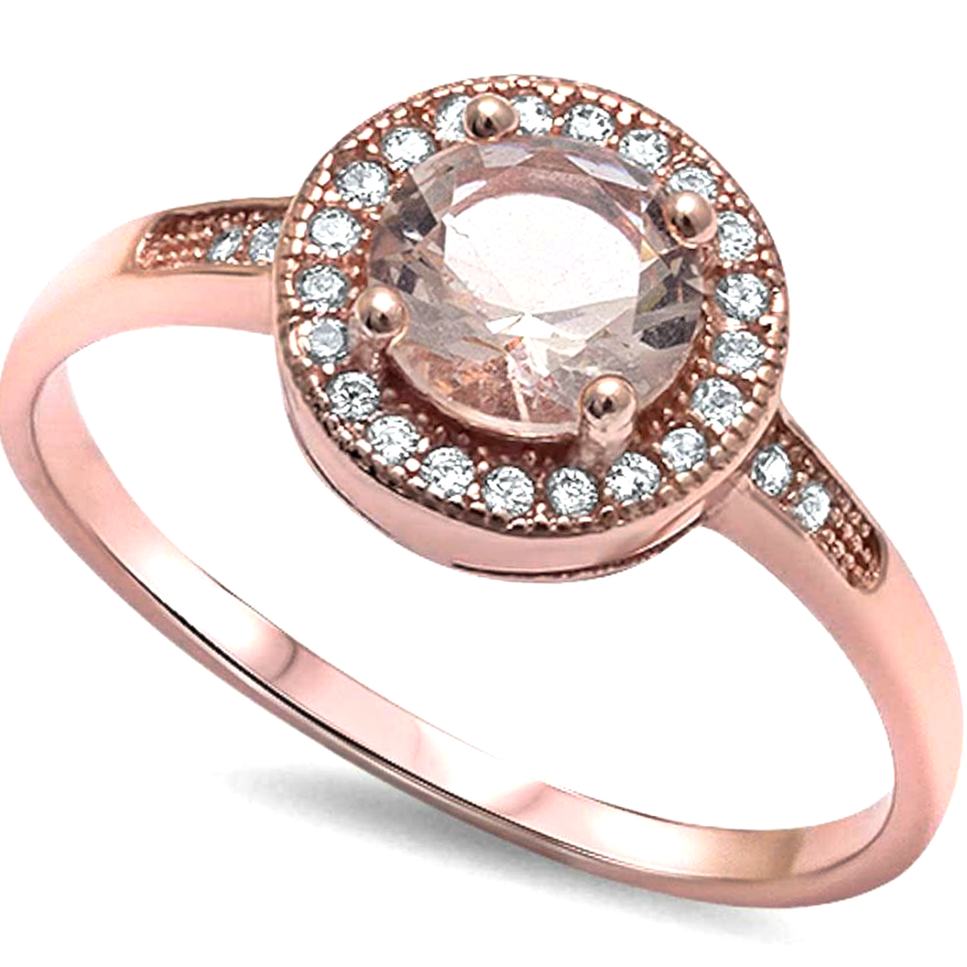 Womens rose gold and pink morganite halo solitaire ring
