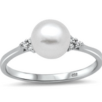 Womens White Pearl solitaire ring in sterling silver